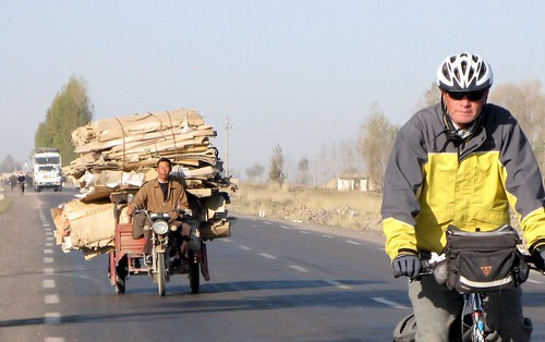 in China cyclists share the road with all manner of vehicles