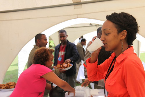 Liya Dejene testing Ethipian Coffee at the IPMS Experience-Sharing Workshop