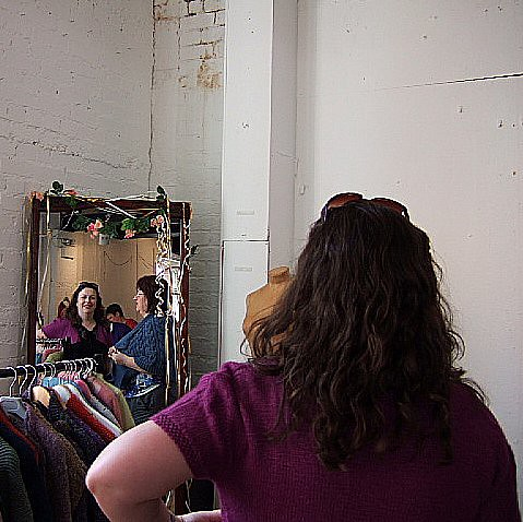 knitter in the mirror