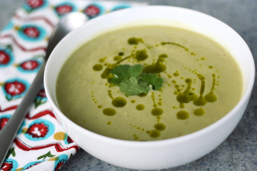 Cold Avocado Corn Soup with Cilantro Oil