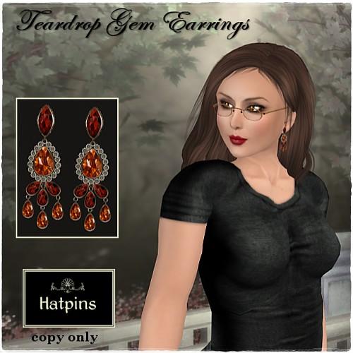Hatpins - Teardrop Gem Earrings - Topaz Ruby