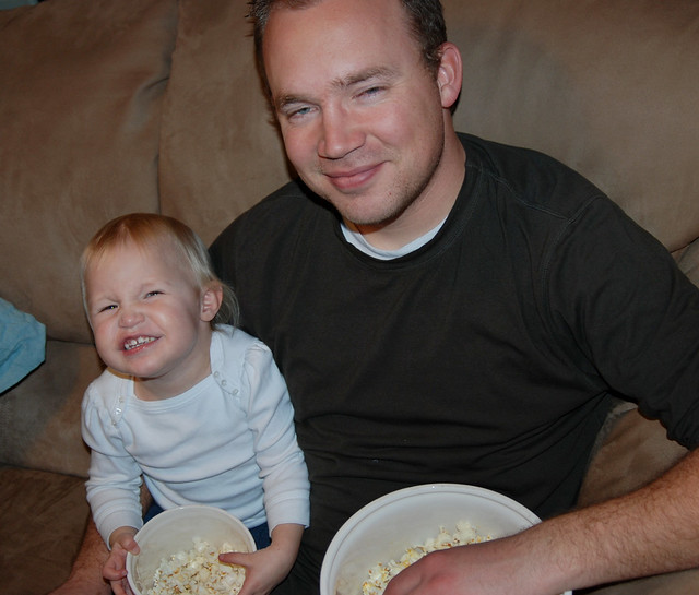 eating popcorn with dad