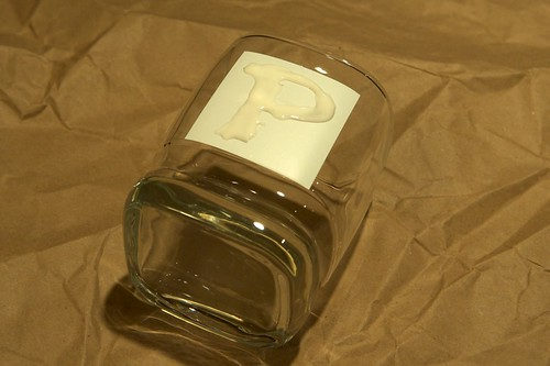 Glass with etching cream