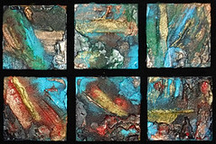 """Tiny Treasures"" mixed media on wood, 4x4 inches, $30 each or $75 for 3 ©2010, Lynne Medsker"