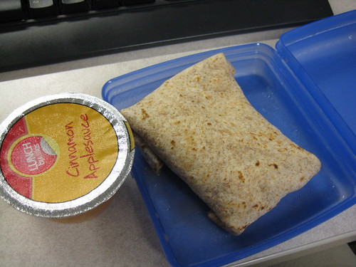 whole wheat tortilla with pinto beans and pepper jack cheese; cinnamon applesauce