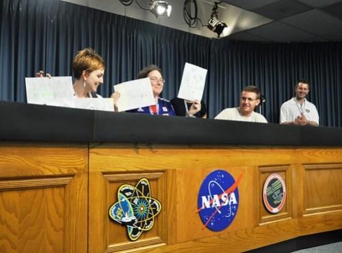 NASA Tweetup STS-134 Day 1 Taking Cover in NASA Media Auditorium, April 28, 2011