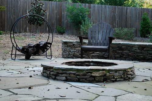 flagstone fire pit in fall