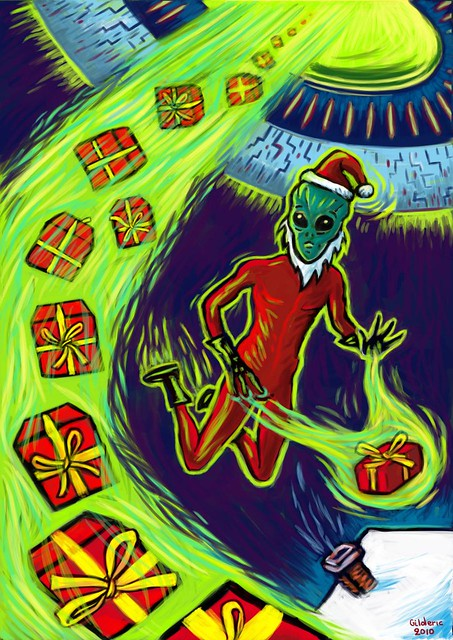 Alien Santa - Digital illustration by Gilderic