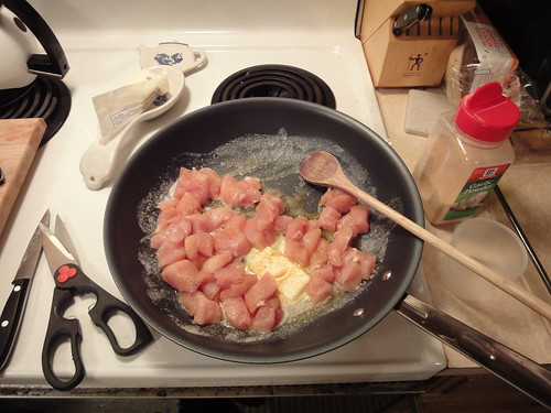 Cooking up the first batch of meat: the breast-meat cubes