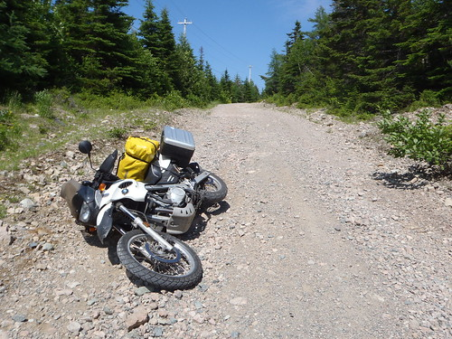 F650GS takes a gravel nap in Upper Leitches Creek, NS