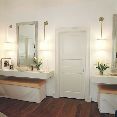 lighting, and double vanities on either side of door, houzz, by blount architecture and interior design
