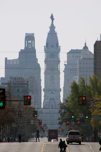 South-facing view of North Broad Street from Temple University's campus