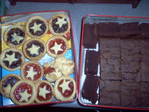mince pies, jam tarts and brownies