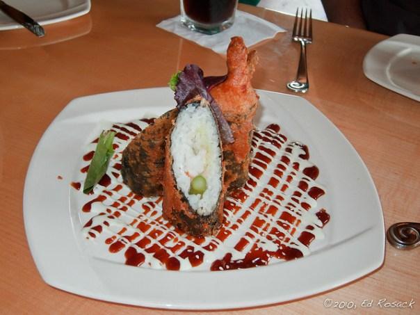 The Tempura Shrimp Sushi appetizer at  Mythos Restaurant