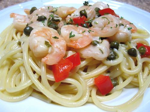 Shrimp Piccata over pasta