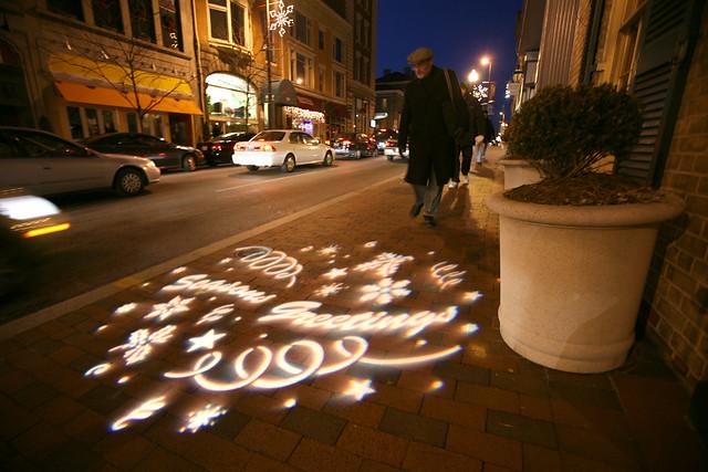Seasons greetings on the sidewalk