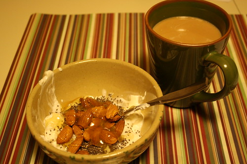Oikos greek yogurt, almonds, chia seeds, honey and coffee