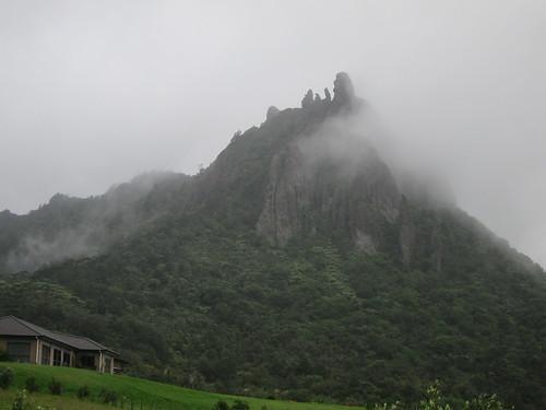 Mount Manaia shrouded in cloud