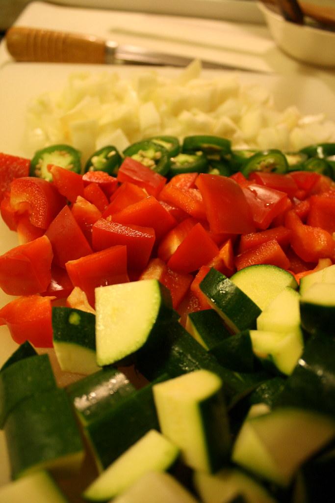 chopped up veggies