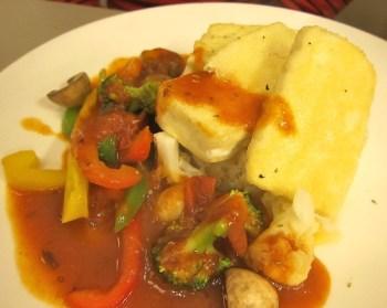 Tofu slices in tomato sauce