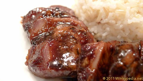 Glazed roast pig cheeks