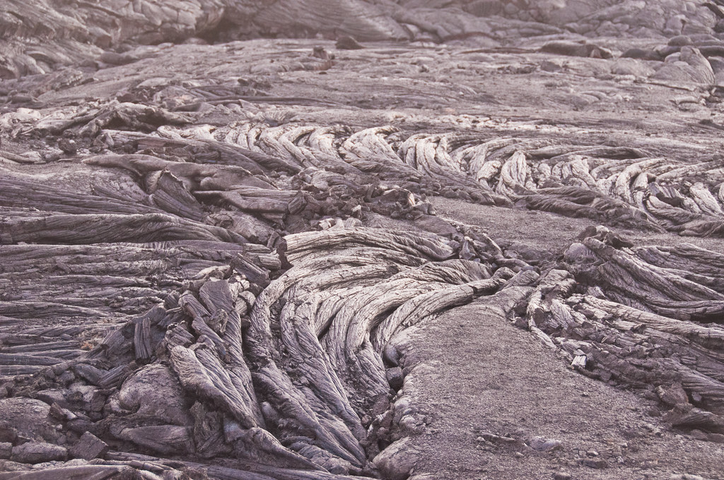 7 week old pahoehoe lava, Kalapana