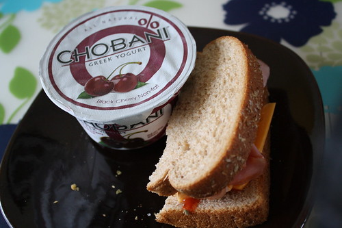 Black Cherry Chobani and ham sandwich