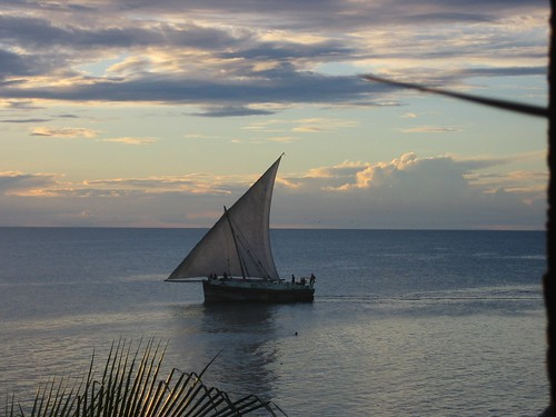 A jahazi leaving Zanzibar en route to Dar es Salaam, Tanzania. In East Africa, sailing dhows still function, unlike in the Persian Gulf, where they mostly live in museums.
