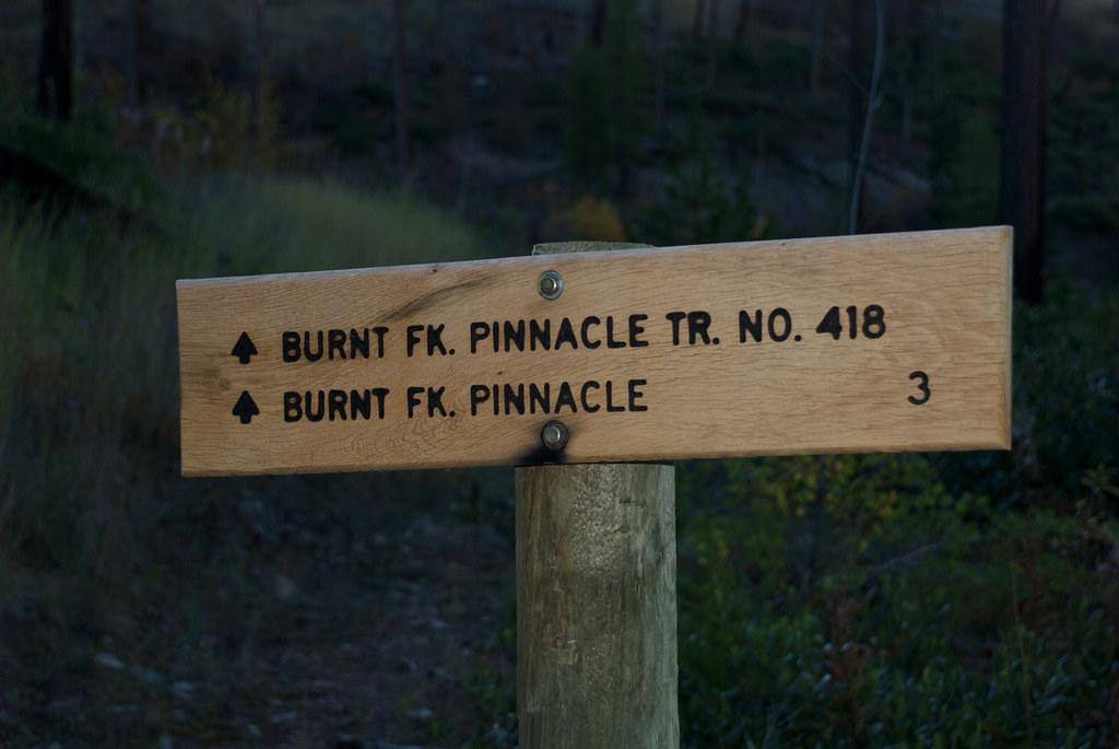 Trail head for Burnt Fork Pinnacle