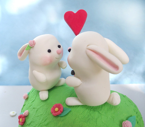 Cute bunnies wedding cake toppers -Personalized