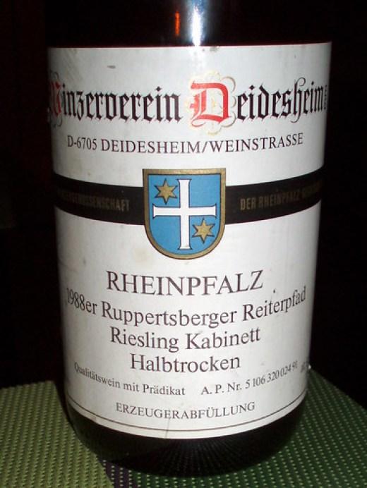 1988 Ruppertsberger Reiterpfad Riesling Kabinett halbtrocken Winzerverein Deidesheim