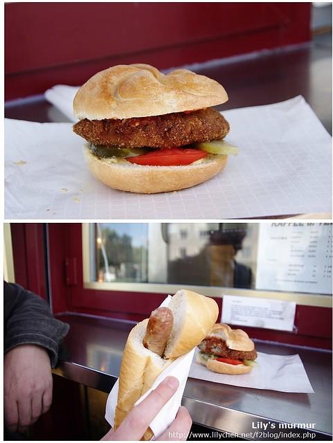 上面是我的維也納肉排風車麵包漢堡,下面是尼的熱狗,當然我們是會交換吃的囉!