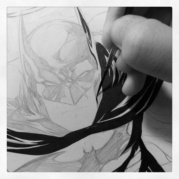 Inking the commission - #batman #nightwing #dc #comics
