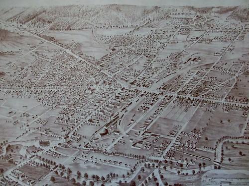 Birdseye view of Keene in 1877