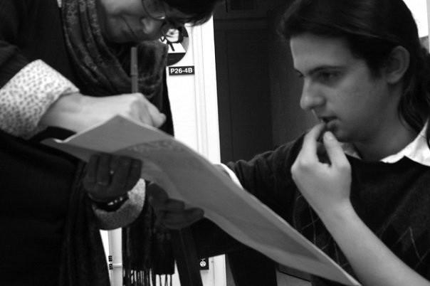 Juan De Anda editing copy with Dianne Heimer