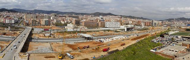 Panorámica de la zona del Pont del Treball - Sant Andreu - 30-03-11