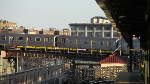 train approaching at Queensborough Plaza