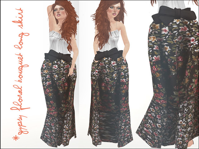jOLIE! Gypsy Floral Bouquet Long Skirt