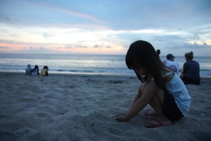 cloudy sunset at kuta beach