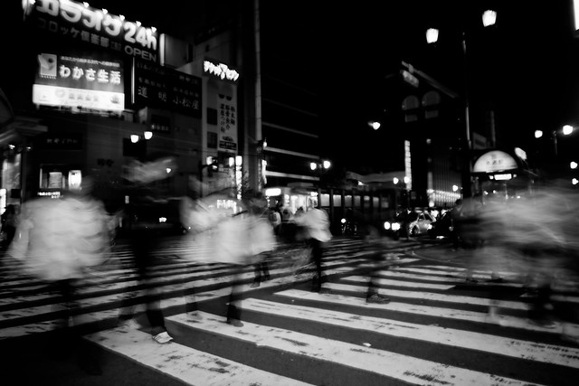 japanese Street Photography blur fast paced black white