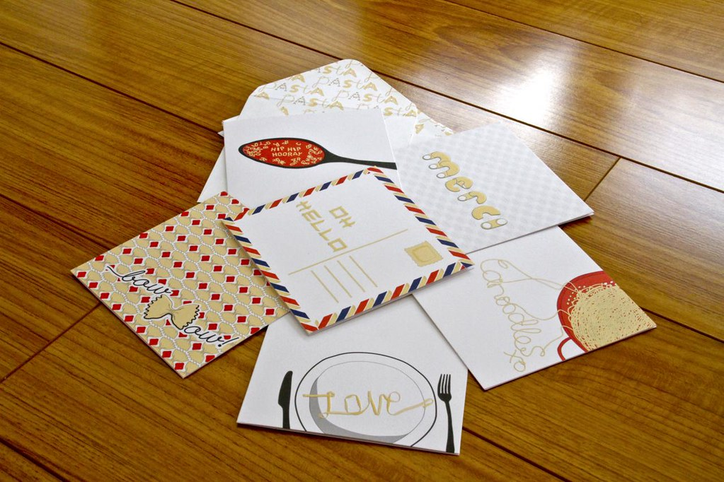Ham & Pea Spell it with Pasta collection greeting cards