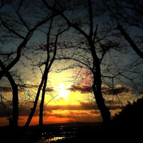 夕陽が、いい感じだね。今日も一日、お疲れ様でした。 #prayforjapan