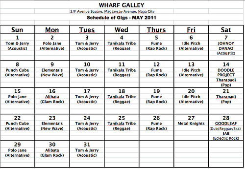 Wharf May Schedule