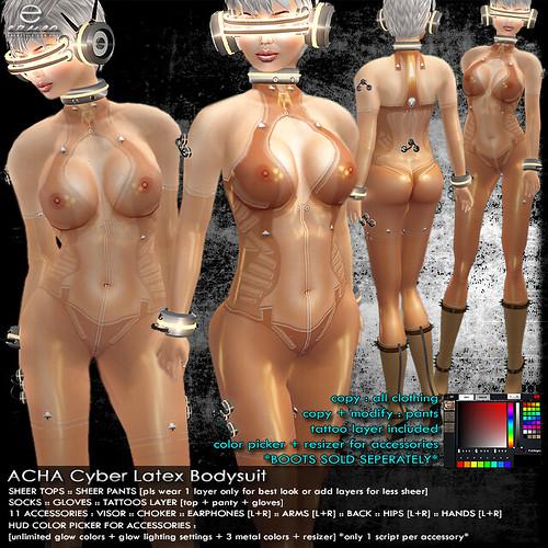 + ezura + ACHA Cyber Latex Bodysuit *Mesh