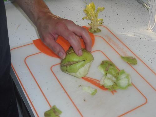 peeling kohlrabi