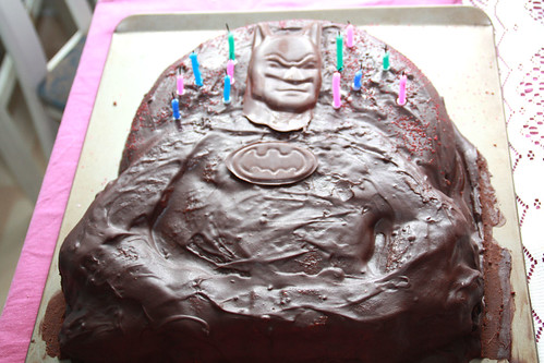 Vegan chocolate batman cake