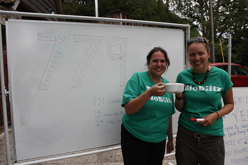 Savita and Vicky with the total