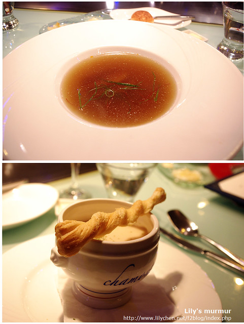 上面是我的嫩鴨清湯,下面是尼的海鮮濃湯。還附上一根麵包棒可以沾濃湯吃。