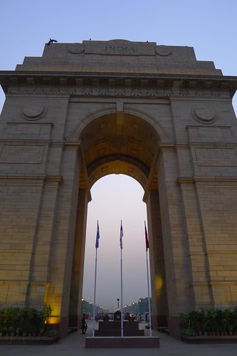 India Gate and behind it the Rajpath leading up to the presidential palace