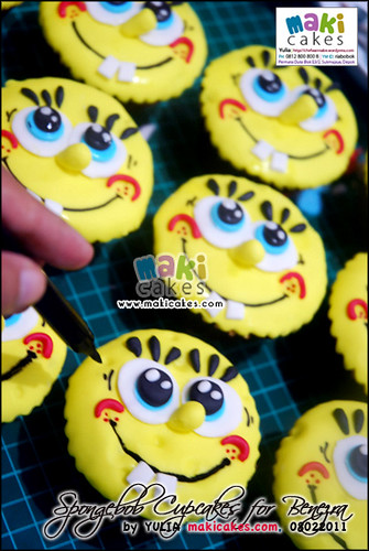 Spongebob Cupcakes for Benezra _how3 - Maki Cakes